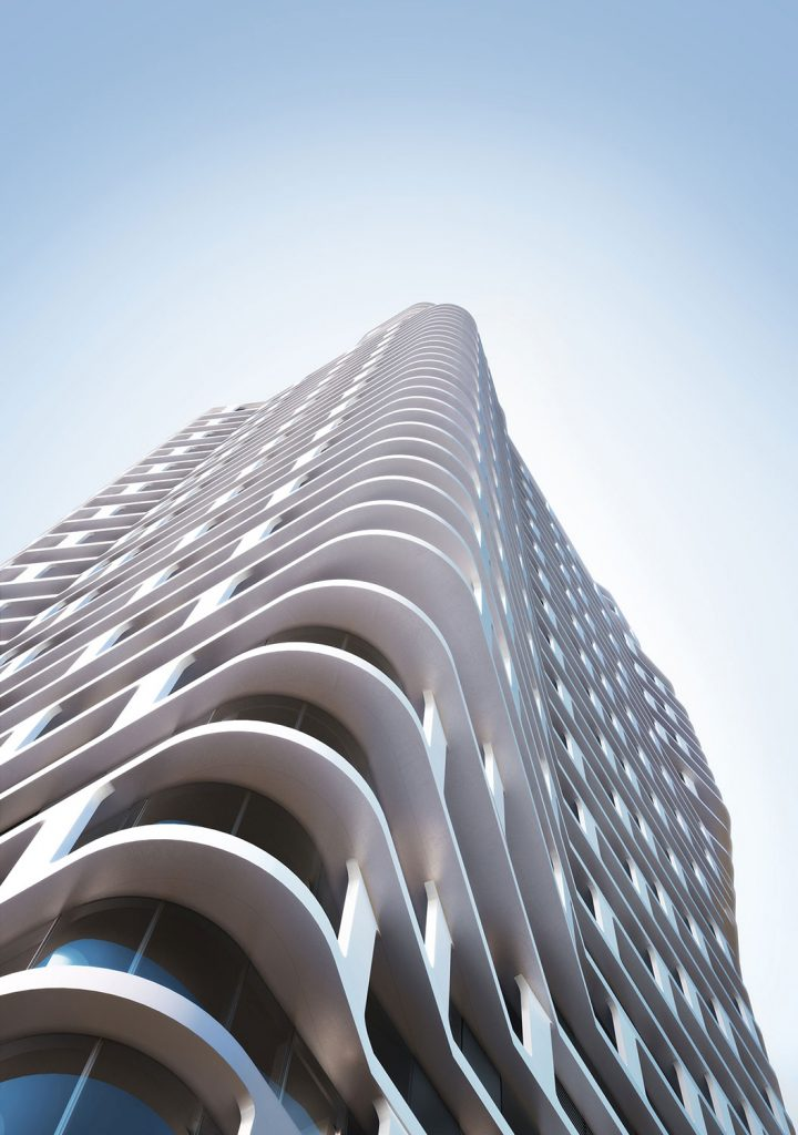 Rising over 60 stories, ARO's striking form features a sculptural cantilevered design of fluid twists and curves.
