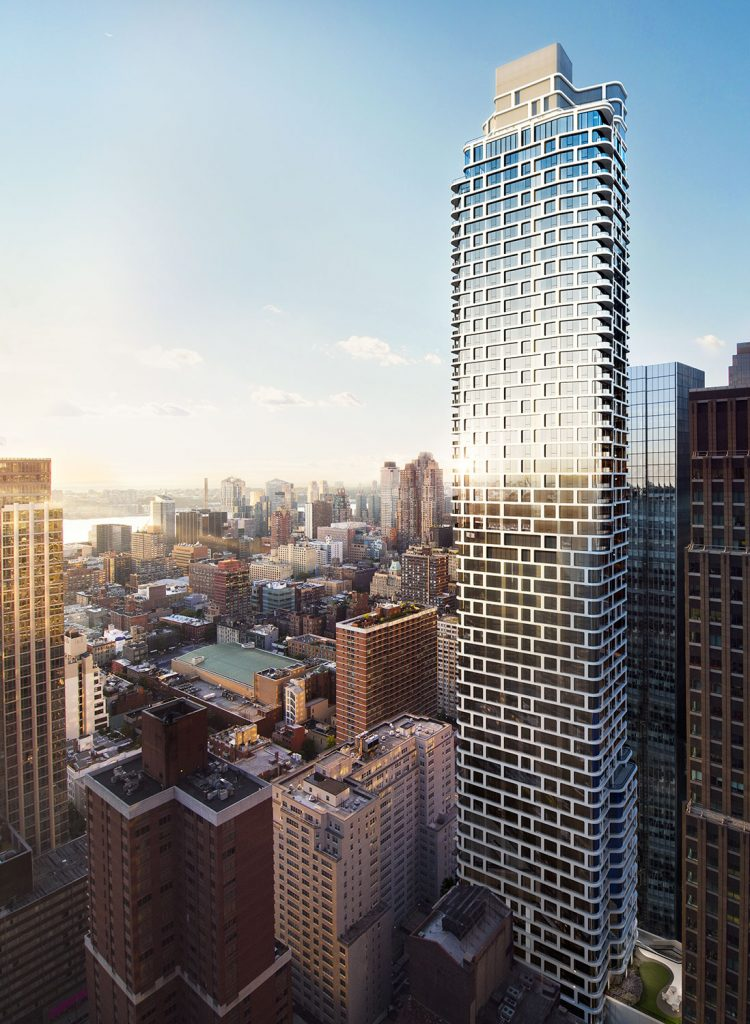 ARO's curved glass tower enhances its surroundings with a distinctive white metal grid.